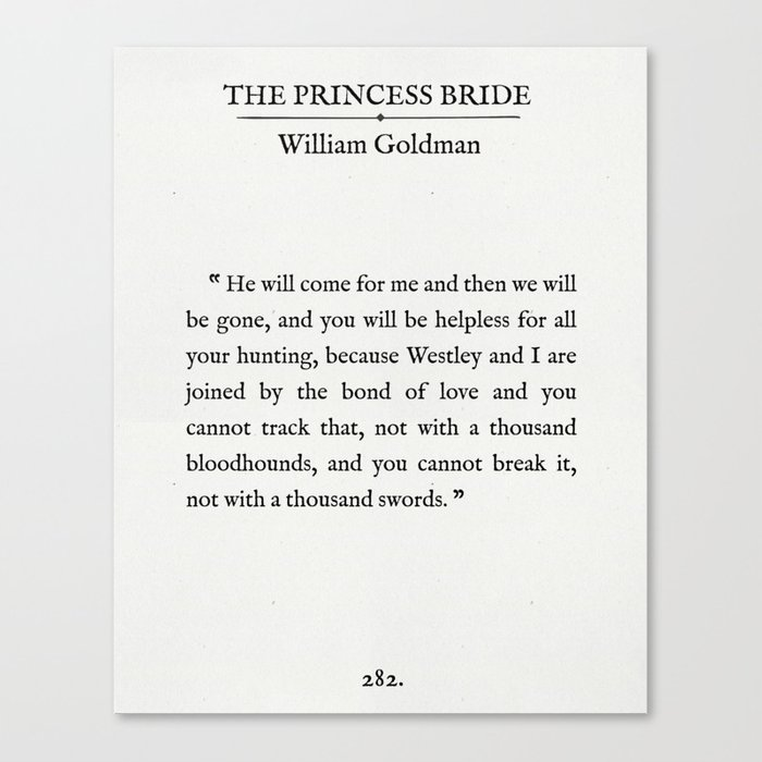Book Page The Princess Bride The Bond Of Love Quote Canvas Print By Sycamoreandslate Society6