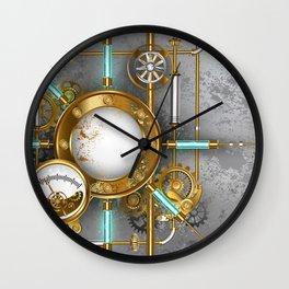 Steampunk Round Banner with Pressure Gauge Wall Clock