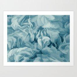 Soft Baby Blue Petal Ruffles Abstract Art Print