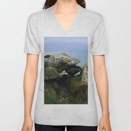 Lichen Covered Rocks in Front of the Blue Horizon Unisex V-Neck
