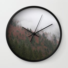 Misty Pine Trees On A Rainy Day Photography Wall Clock