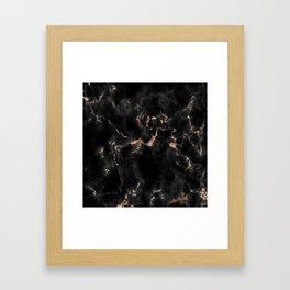 Rose Gold and Black Marble Framed Art Print