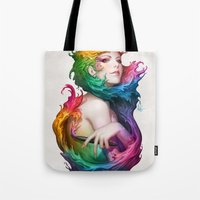 pen Tote Bags featuring Angel of Colors by Artgerm™