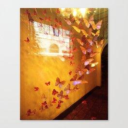 Butterflies in Window Canvas Print