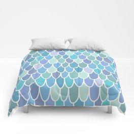 Mermaid Scales Kids Ocean Theme Pattern, Blue, Teal, Purple Comforters