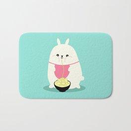 Fat bunny eating noodles Bath Mat