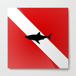 Diving Flag: Shark Metal Print