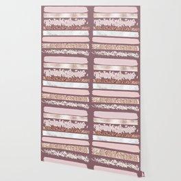 Girly Pink Purple Glitter Rose Gold Brushstrokes Wallpaper