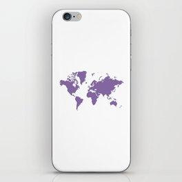 World with no Borders - purple iPhone Skin