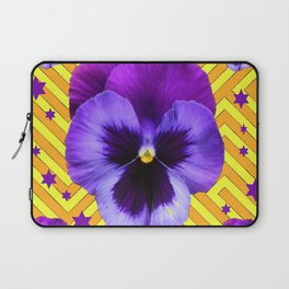 DECORATIVE LILAC PURPLE PANSIES  FLOWERS & PURPLE STARS Laptop Sleeve