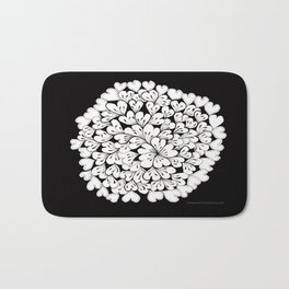 Hearts and Flowers Zentangle black and white illustration Bath Mat