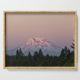 Mt. Rainier at Sunset Serving Tray