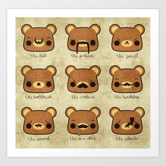 Bear with many moustaches Art Print