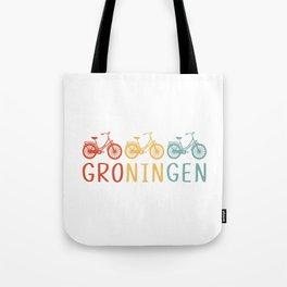 Groningen Retro Bicycle Souvenir TShirt Dutch Flag Shirt Netherlands Cycling Gift Idea  Tote Bag