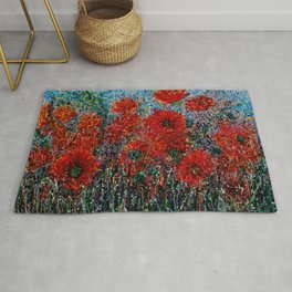 Wild Grass and Poppies Pollock Inspiration Rug