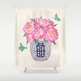 peony bouquet in ginger jar/cream Shower Curtain