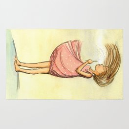 Dandelion Girl - Artwork that re-visits your favorite childhood memories Rug