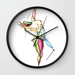 Extension, female nude dancer, NYC artist Wall Clock
