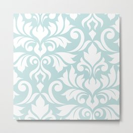 Flourish Damask Art I White on Duck Egg Blue Metal Print