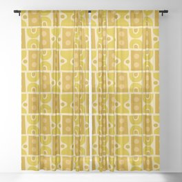 Mid Century Abstract Pattern Yellow Ochre Sheer Curtain