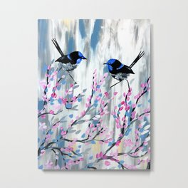 Pink and Grey prints with cherry blossom Metal Print