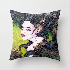 Queen of dragonflies Throw Pillow