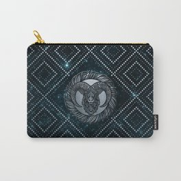 Aries Zodiac Silver Embossed on the Star sky Carry-All Pouch