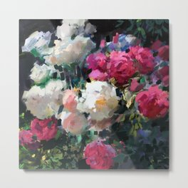 White & Pink Roses Metal Print