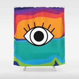 Bright Rainbow Eye Design Shower Curtain