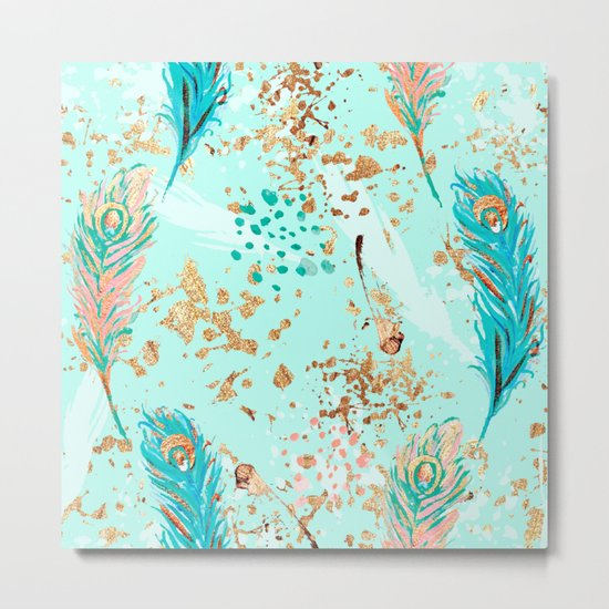 Feather peacock peach mint #7 Metal Print