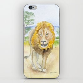 Lion in Africa Watercolor iPhone Skin