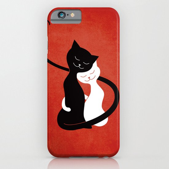 White And Black Cats In Love (red) iPhone & iPod Case