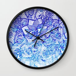 Modern china blue ombre watercolor floral lace hand drawn illustration Wall Clock