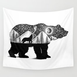 THE BEAR AND THE WOLF Wall Tapestry