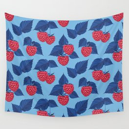 Raspberry on blue background Wall Tapestry