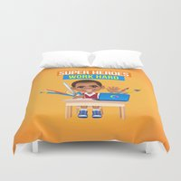 super heroes Duvet Covers featuring Super Heroes Work Hard by youngmindz