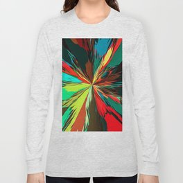 geometric splash painting abstract in red green yellow blue and brown Long Sleeve T-shirt
