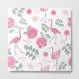 Seamless floral pattern with flamingo birds. Endless texture Metal Print