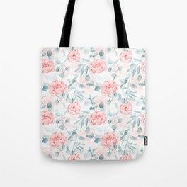 Rose Blush Watercolor Flower And Eucalyptus Tote Bag