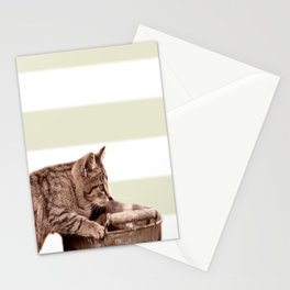 Cat Play on stripes Stationery Cards