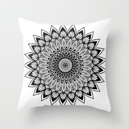 Sacred Lotus Black and White Mandala - LaurensColour Throw Pillow