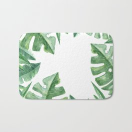 Tropical Green Monstera Watercolor Bath Mat