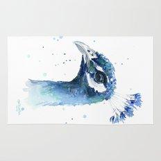 Peacock Watercolor Painting Bird Animal Rug