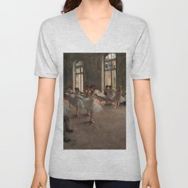 Classical Masterpiece 'The Ballet Rehearsal' by Edgar Degas Unisex V-Neck