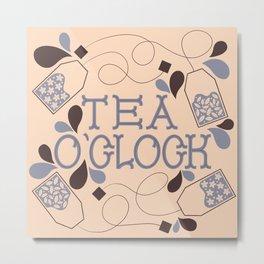 Tea O'Clock- Cream and Lilac Metal Print