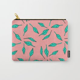Modern summer tropical turquoise palm tree exotic leaf pattern on pink Carry-All Pouch