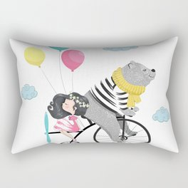 Cute bear and little girl in the sky with bicycle. Rectangular Pillow