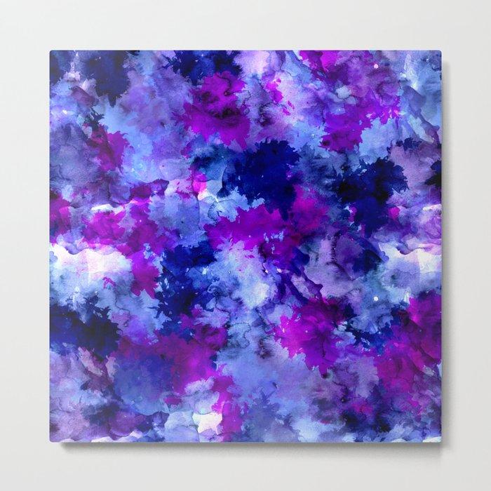 Modern blue purple watercolor brushstrokes paint Metal Print