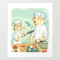 cooking Art Prints featuring Cooking! by Laura Perez Illustration