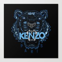 kenzo Canvas Prints featuring Kenzo Tiger Dark Blue by cvrcak